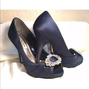 Nina blue satin peep toe d'orsay pump rhinestone